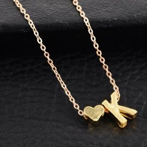 K Initial Monogram Gold Heart Pendant Necklace